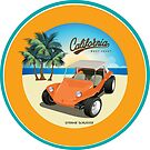 Orange Dune Buggy on Beach with Palms Seal by Frank Schuster