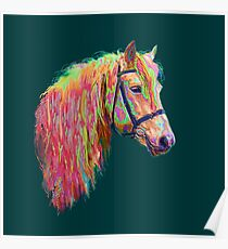 amazing coloured pony on green. Poster