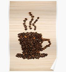 Coffee bean cup on table Poster