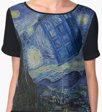 Starry Night Tardis Women's Chiffon Top