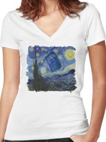 Starry Night Tardis Women's Fitted V-Neck T-Shirt