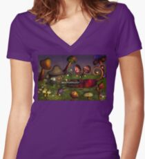 Mushroom - Deep in the Bayou Women's Fitted V-Neck T-Shirt