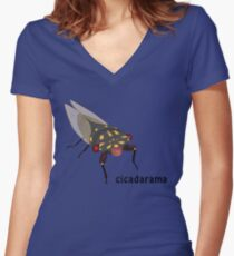 Cicadarama - Cherrynose cicada Women's Fitted V-Neck T-Shirt