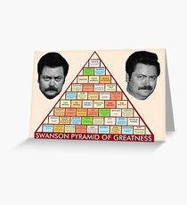 Ron Swanson's Pyramid Of Greatness Greeting Card