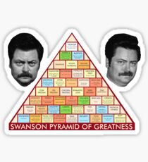 Ron Swanson's Pyramid Of Greatness Sticker