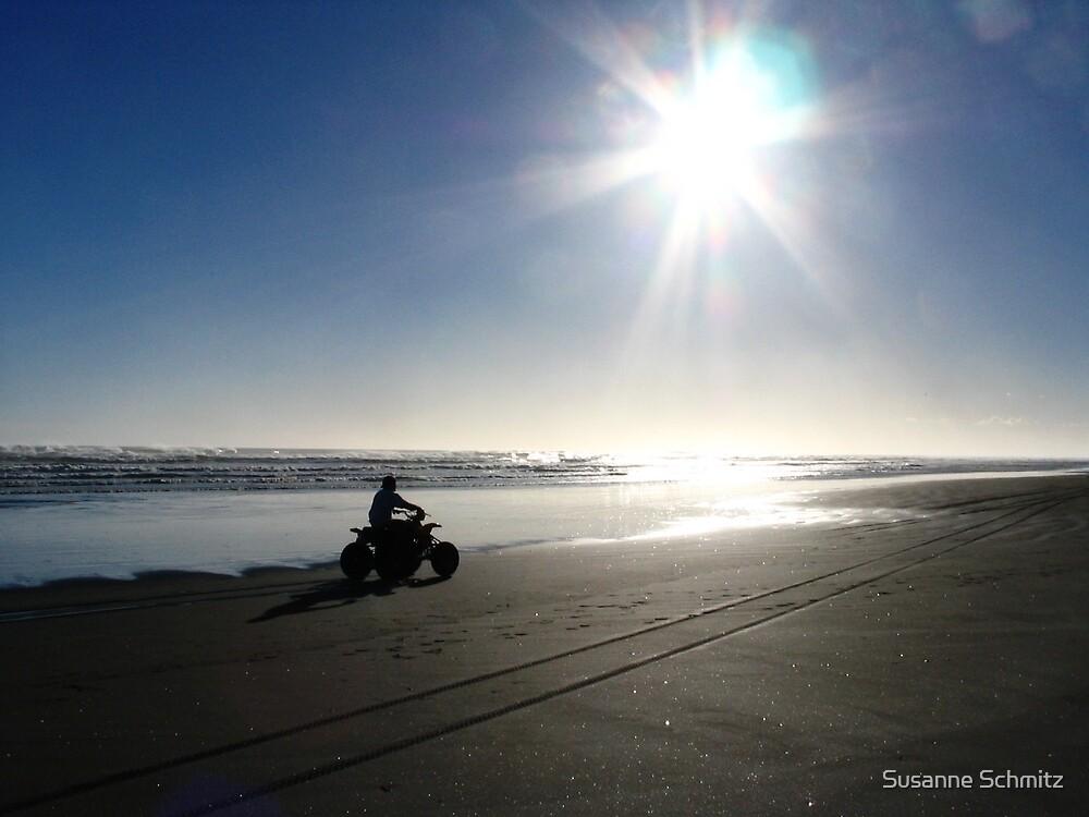 little fourwheeler at a beach in New Zealand  by Susanne Schmitz