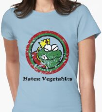 Hates: Vegetables (Battle Damage) Women's Fitted T-Shirt