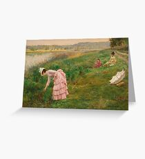 Picking Wildflowers by Arthur Hacker 3 Greeting Card