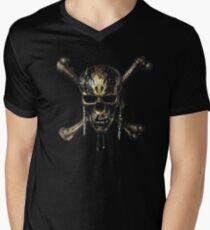 PIRATES OF THE CARIBBEAN  DEAD MEN TELL NO TALES SKULL Men's V-Neck T-Shirt