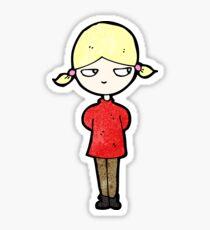 cartoon annoyed blond girl Sticker
