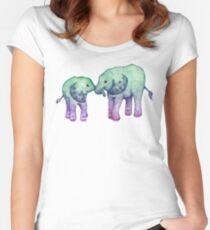 Baby-Elefant-Liebe Tailliertes Rundhals-Shirt