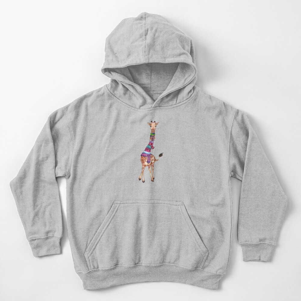 Cold Outside - Cute Giraffe Illustration Kids Pullover Hoodie