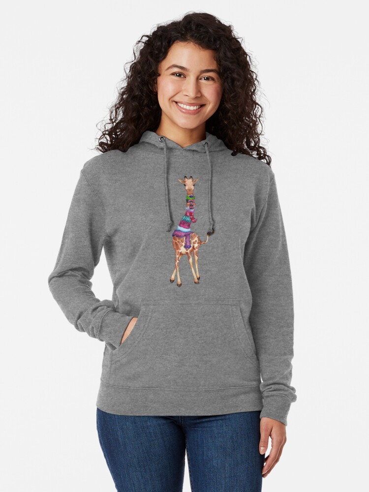 Alternate view of Cold Outside - Cute Giraffe Illustration Lightweight Hoodie