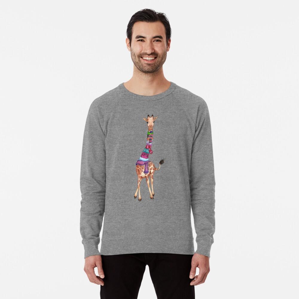 Cold Outside - Cute Giraffe Illustration Lightweight Sweatshirt