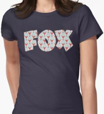 Fox Pattern on Sage  Womens Fitted T-Shirt