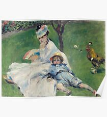 Auguste Renoir - Camille Monet And Her Son Jean In The Garden At Argenteuil, 1874 Poster