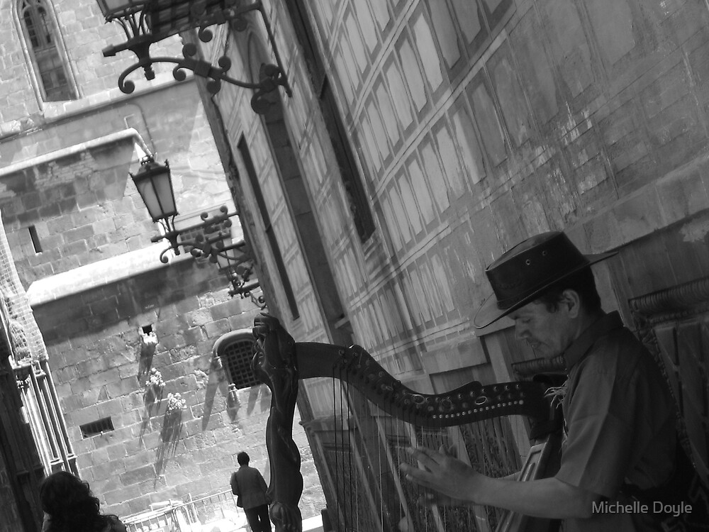 Harpist - Barcelona by Michelle Doyle