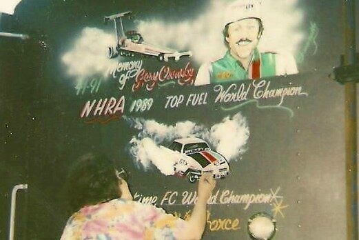 truck mural of racing star by francelle  huffman