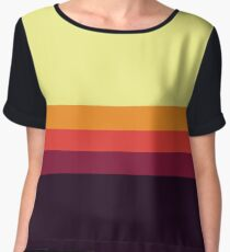 Sunset Palette Stripe Pattern Women's Chiffon Top