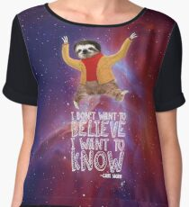 Carl Sagan Sloth - I Don't Want to Believe. I Want to Know Chiffon Top