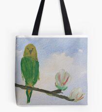 Parakeet on Magnolia Tree Tote Bag