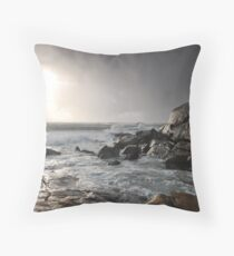 Stormy sunset and coast Throw Pillow