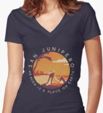 Black Mirror: San Junipero - Vintage Style Women's Fitted V-Neck T-Shirt