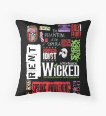 Broadway Musical Collage Throw Pillow