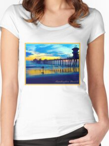 Surfer at the Huntington Beach Pier Women's Fitted Scoop T-Shirt