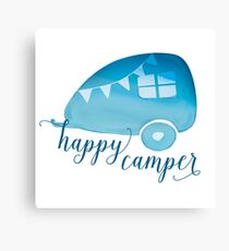Happy Camper in Blue Watercolor Canvas Print