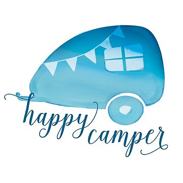 Happy Camper in Blue Watercolor by LabraDoodles
