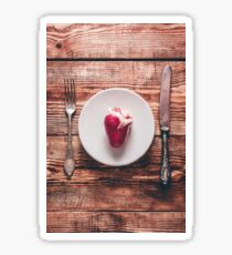 Heart on White Plate Sticker