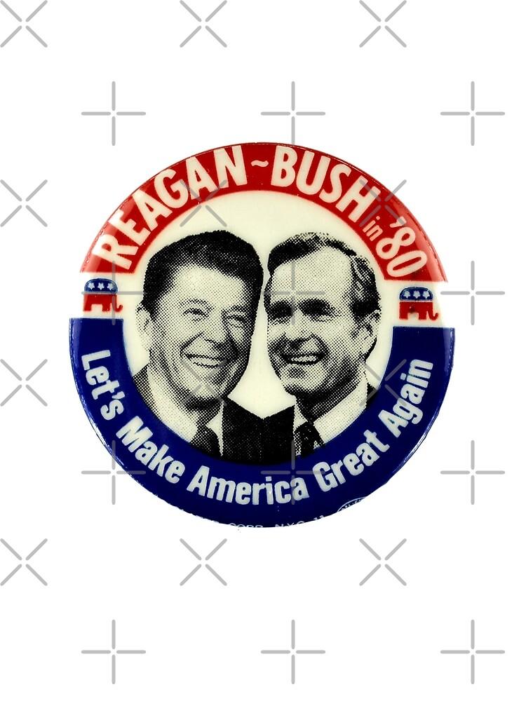 Reagan Bush 84 80 Retro Logo Red White Blue Election Ronald George 1984