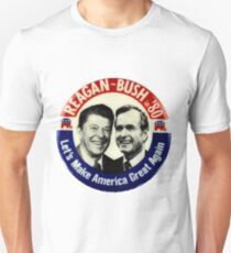 Reagan Bush '84 '80 Retro Logo Red White Blue Election Ronald George 1984 84 1980 80 Pin T-Shirt
