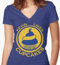 Kevin Likes Cupcakes (Yellow/Blue) Women's Fitted V-Neck T-Shirt