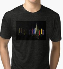 New York City Skyline Colorful Night Lights Tri-blend T-Shirt