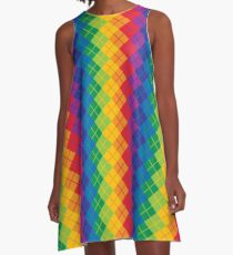 Rainbow Argyle A-Line Dress