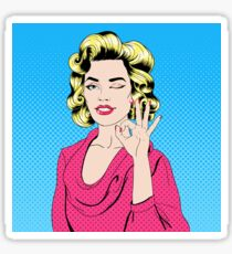Pop Art Style Girl Gesturing Okay Sticker