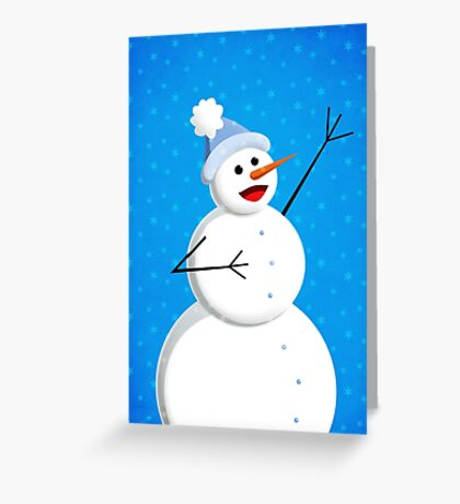 Blue Winter Happy Snowman Greeting Card
