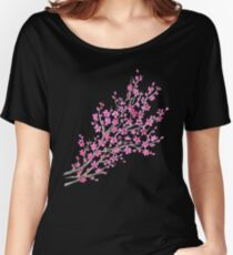 Sakura watercolor on black background Women's Relaxed Fit T-Shirt