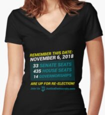 Justice Democrats Remember This Date Women's Fitted V-Neck T-Shirt