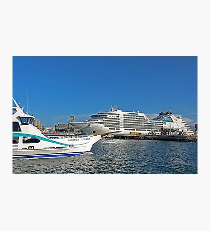 Magnetic Island Barge and Seabourn Encore Cruise Ship Photographic Print