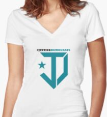 Justice Democrats Hash Tag Women's Fitted V-Neck T-Shirt