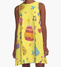 Happy Birthday Seamless Pattern with Cake, Cupcakes and Hats for Children Party A-Line Dress