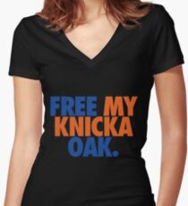 Free My Knicka Oak (Blue/Orange) Women's Fitted V-Neck T-Shirt