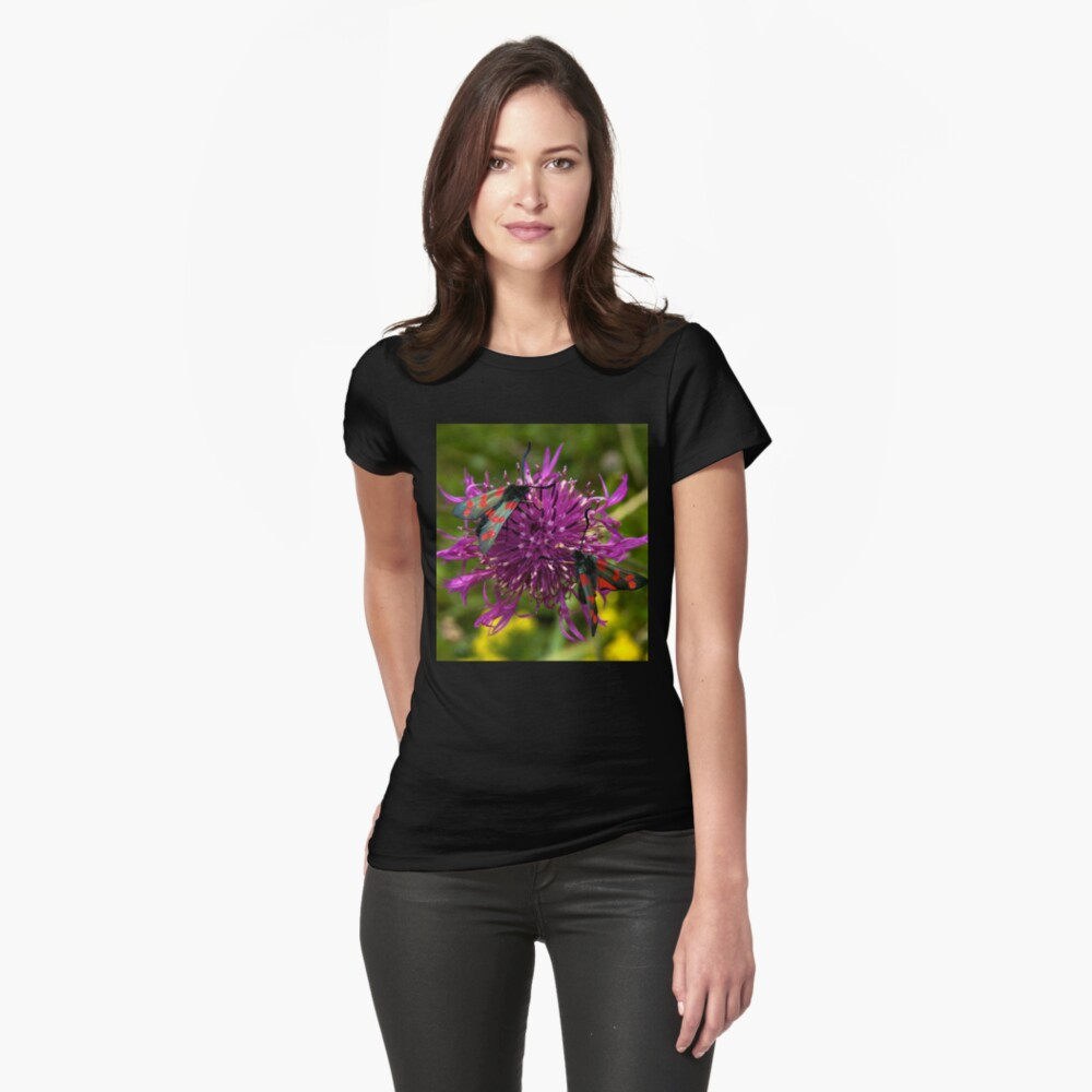 "Greater Knapweed with ""6-spot Burnet"" Moths Womens T-Shirt Front"