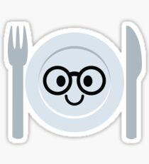 Fork and Spoon Emoji Nerd Noob Glasses Sticker