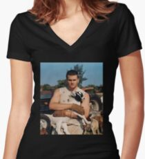 Tom goat Brady Women's Fitted V-Neck T-Shirt