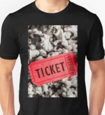Event ticket lying on pile of popcorn Unisex T-Shirt
