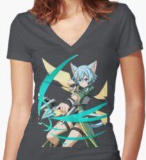 Sinon - Sword Art Online - Anime Women's Fitted V-Neck T-Shirt